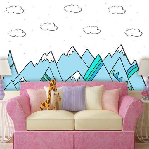 Piękne, niebieskie góry na fotoaparacie do pokoju dzieci
