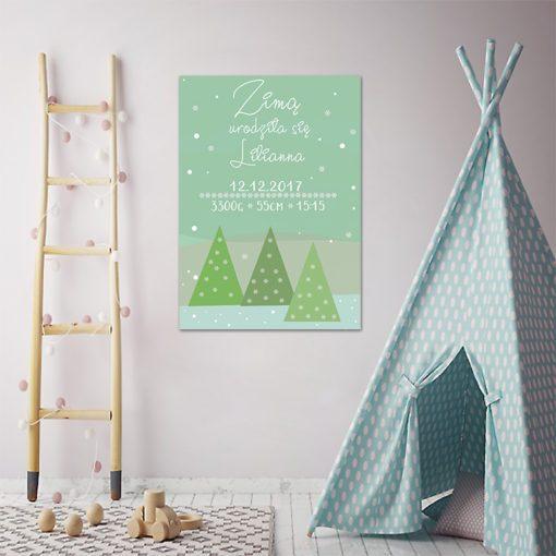 Zielony plakat z metryczką na prezent dla dziecka