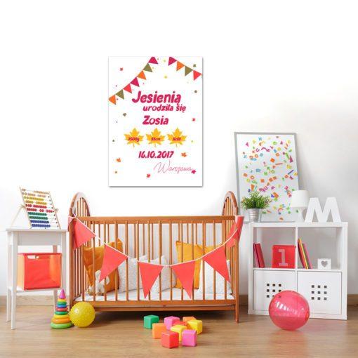 Plakat - kolorowa metryczka dla dziecka