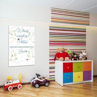 Wiosenna metryczka do pokoju dziecka