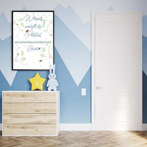 Wiosenna metryczka z uroczym wzorem do pokoju dziecka
