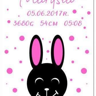 metryczka z króliczkiem i kropeczkami do pokoju dziewczynki