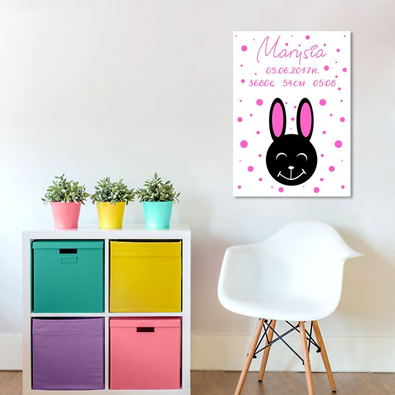 modny plakat z motywem metryczki do pokoju dziewczynki