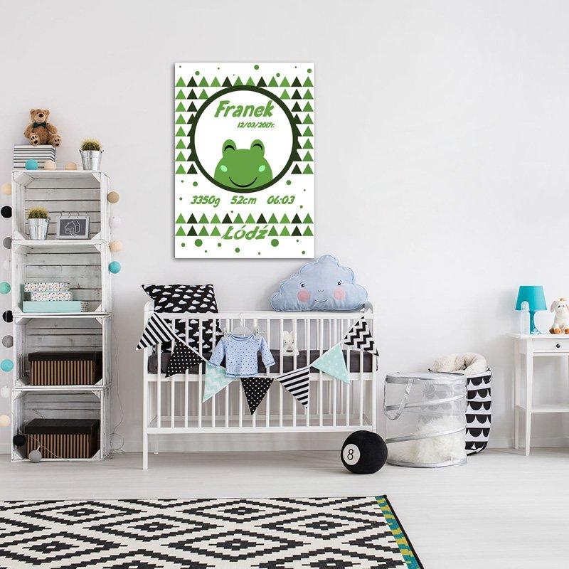 metryczka z uroczym motywem żabki do pokoju dziecka