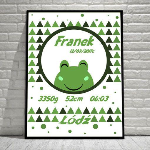 plakat w ramie - metryczka z żabką dla dziecka