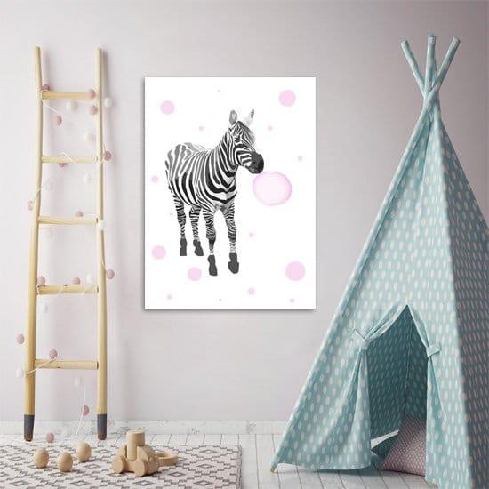 Plakat z motywem zebry do pokoju dzieci