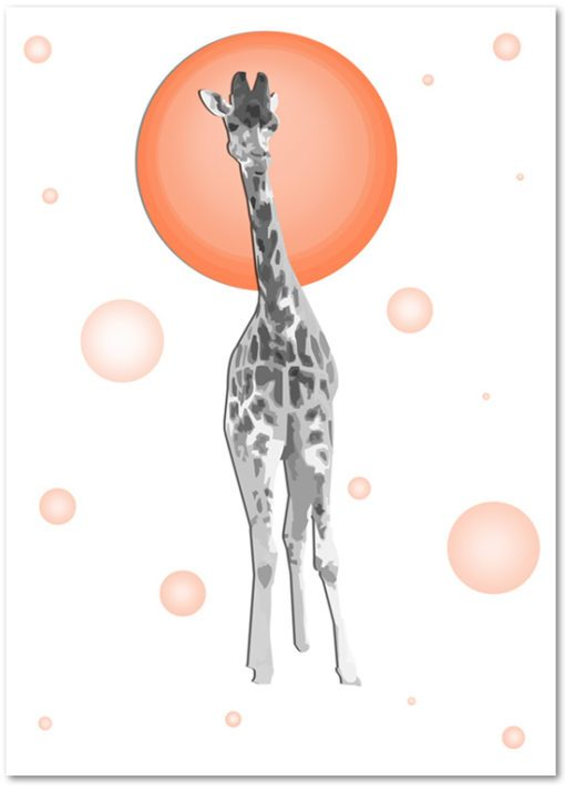 plakat z żyrafą - piękny akcent dekoracyjny do pokoju dziecka