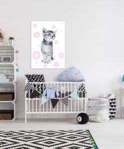 uroczy plakat z motywem kotka do pokoju chłopca lub dziewczynki