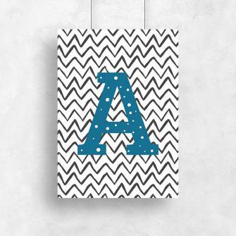 Plakat z literką do pokoju dziecka