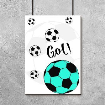 plakat do pokoju chłopca z turkusową piłką
