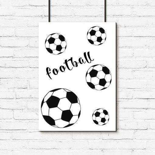 czarno-biały plakat z piłkami do pokoju chłopca