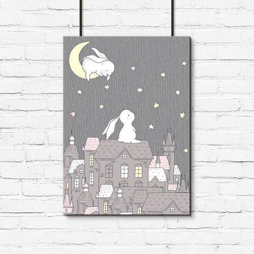plakat dla dziecka króliczki i miasto