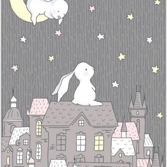plakat z króliczkami