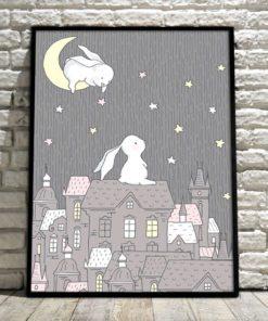 plakat z motywem królików
