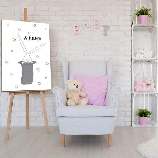 plakat w ramie z króliczkiem
