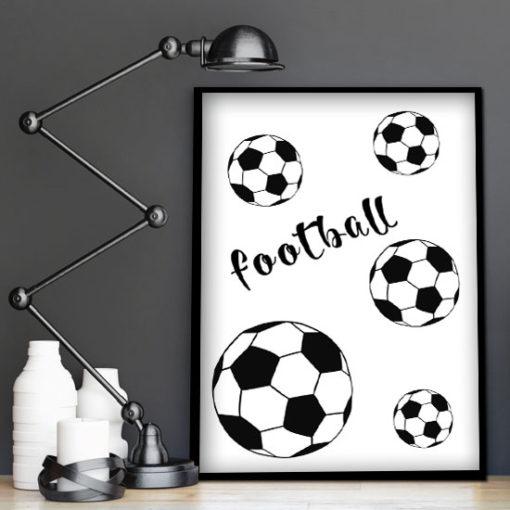 plakat w ramie z piłkami dla chłopca