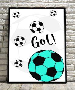 plakat do pokoiku chłopca - latające piłki