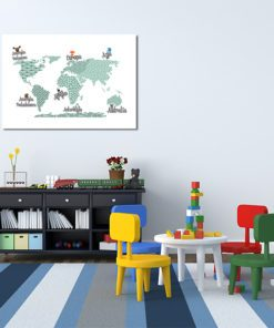 mapa ze zwierzakami na ścianę dla dziecka