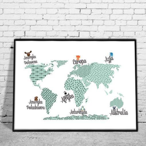 plakat z mapą na ścianę dla dzieci