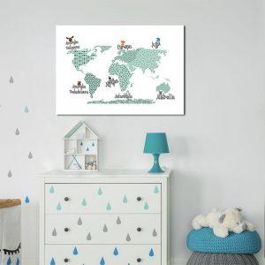 plakat w ramie z mapą i zwierzakami