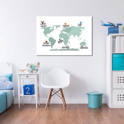 dekoracja z mapą dla dziecka