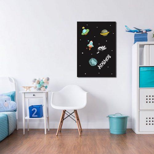 plakat - rakiety, planety, gwiazdki