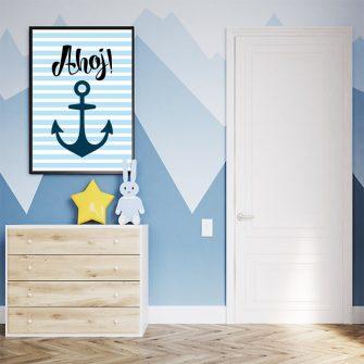 niebieski plakat do pokoju dziecka