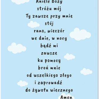 plakat z modlitwą - Aniele Boży