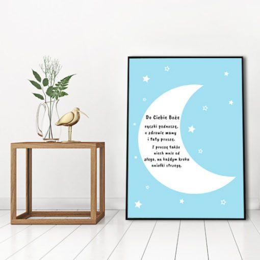 plakat na ścianę, modlitwa, księżyc