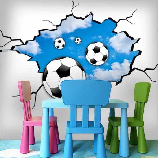 piłki na tle chmur - fototapeta 3d dla dzieci