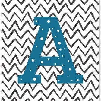 plakat z literką dla dziecka