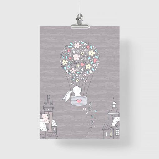 Plakaty dla dzieci królik w balonie