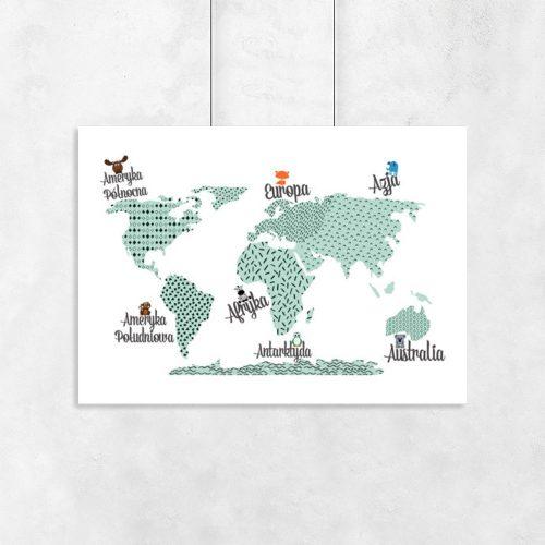 plakat do pokoju dziecka z mapą