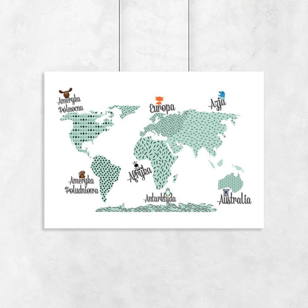 Plakat Z Mapą I Zwierzakami Do Pokoju Chłopca I Dziewczynki