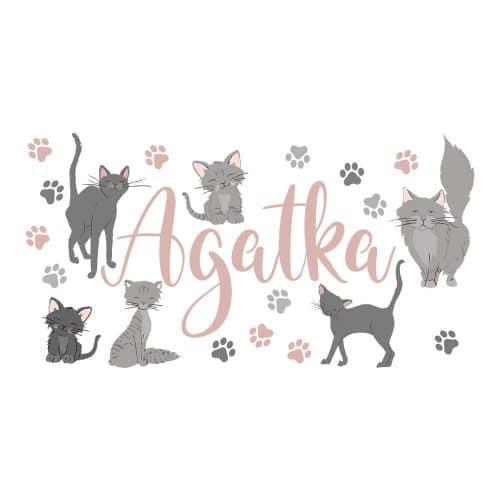 naklejka z imieniem córki i kotami