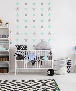naklejka miętowe i szare gwiazdki do pokoju dziecka