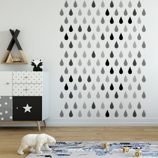 naklejka do pokoju dziecka szare krople deszczu