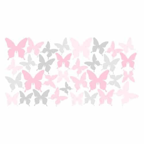 naklejka szare i różowe motyle dla dzieci