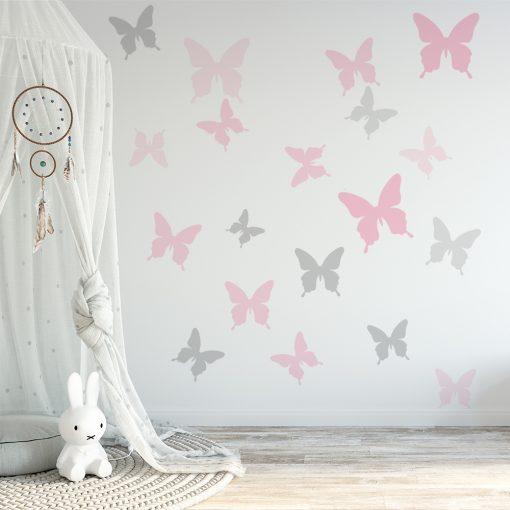 naklejka szare i różowe motyle do pokoju dzieci