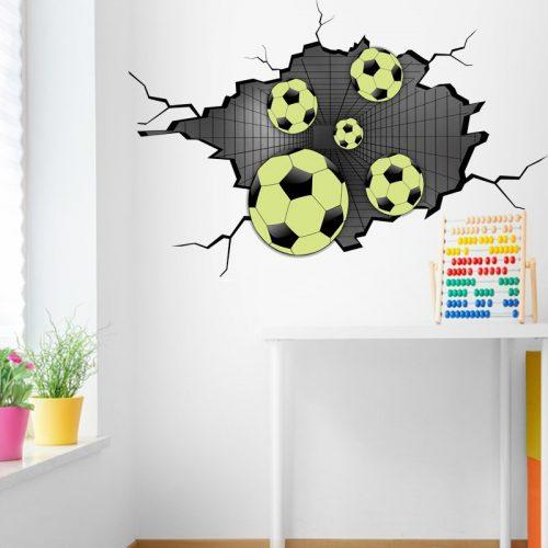 Piłki w ścianie - naklejka 3D