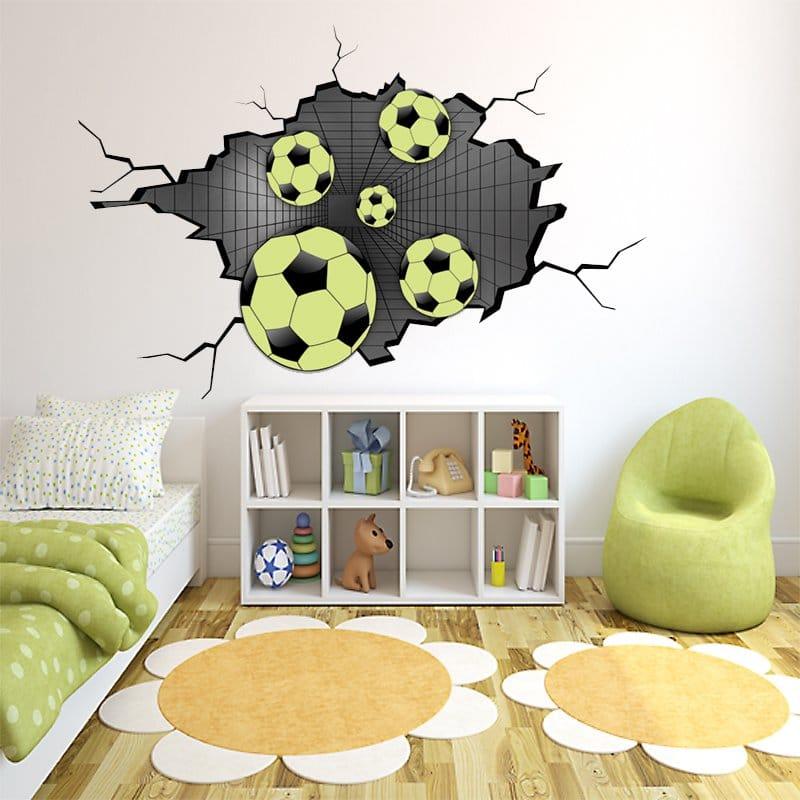 Naklejka Piłki 3d Na ścianę Dekoracje Do Pokoju Chłopca