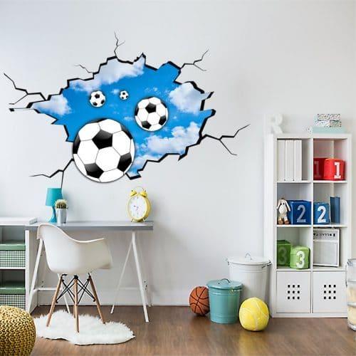 naklejka 3D z piłkami i chmurami