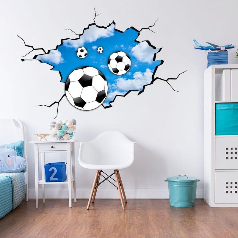 Naklejka Z Piłkami 3d Wylatujących Ze ściany Dekoracje Dla Chłopca