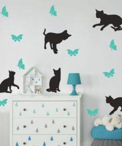 naklejka - kotki i motylki