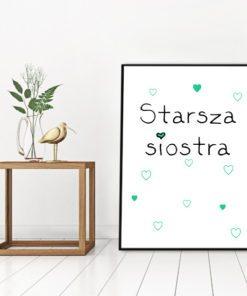 Napis starsza siostra w formie plakatu