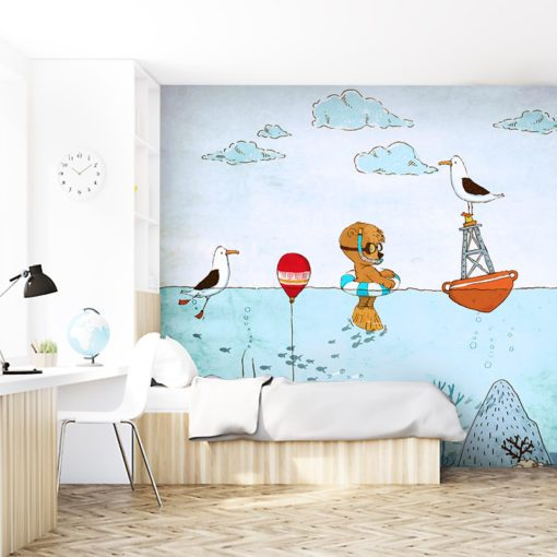 dziecięca tapeta do pokoju ze zwierzętami