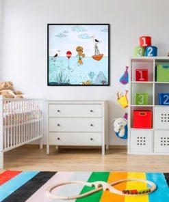 kwadratowy plakat w pokoju dziecka
