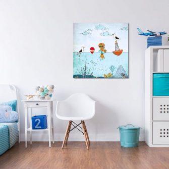 kwadratowy plakat ze zwierzętami w wodzie