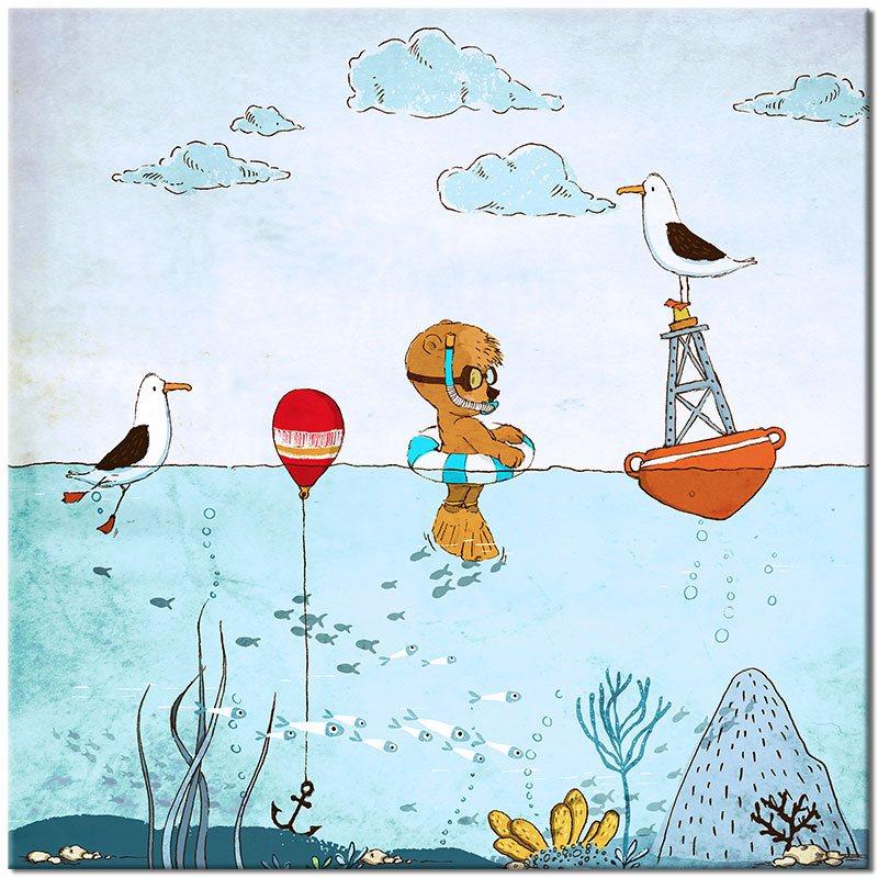 Plakat Kwadratowy Ze Zwierzętami W Wodzie