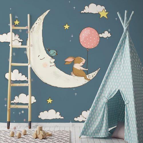 zwierzęta i śpiący księżyc
